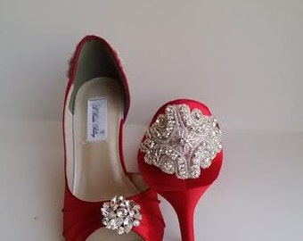 Red Wedding Shoes Red Bridal Shoes with Crystal Flower and Beading Design Over 100 Custom Color Choices