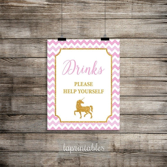 Diy Drinks Food Printables: Unicorn Drinks Sign Drink Table Sign Pink And Gold By