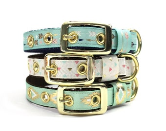 Gold Arrow, Tribal, or Triangle Print Dog Collar with Metal Buckle