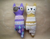 Owls couple, pair of horned  wise  friends , soft art  toy creature bird by  Wassupbrothers ,anniversary wedding gift, Ready to ship