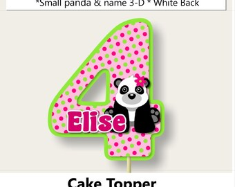 Pink Girl Panda Birthay Party Cake Topper,Panda Baby Shower Decorations, Panda Party Favors, Invitation, Banner, cupcake toppers