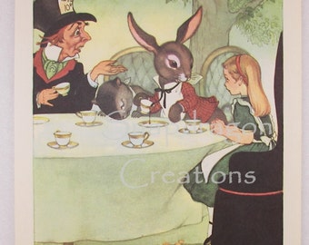 Vintage Alice in Wonderland Illustration, Alice and the Mad Hatter, Margorie Torrey,  1960's Dandelion Library