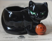 Vintage Halloween Black Cat Candy Container by Houston Foods Vintage Black Cat Ceramic Candy Dish Vintage Halloween Black Cat