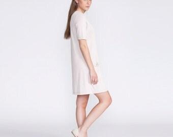 Pocket dress, pink, summer dress, low waist, short dress, loose fit, casual style, day dress, viscose, sundress, v neck dress, oversize
