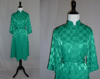80s Catherine Ogust Dress - Green Checkered - Asian Inspired - w/ Matching Sash - Penthouse Gallery - Vintage 1980s - S