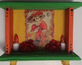 Catrina Bright Colorful and Festive Day of the Dead  / Dia de los Muertos  Mini Altar Shrine Nicho