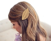 Leaf // Wood Hair Clip // Laser Cut