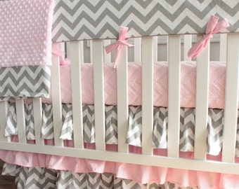 Gray Chevron Pink Bumperless Crib Rail Bedding Set