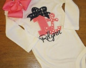 Navy Anchor Hot Pink Personalized Boutique Number Birthday Boutique Bow First 1st 2T 3 4 5 6 8 Girls Applique Short Long Sleeve Shirt Tank