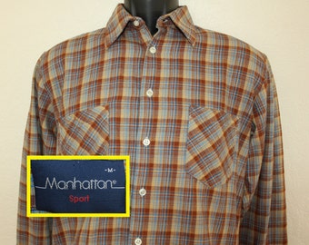 Manhattan Sport vintage button down plaid shirt Medium 80s long sleeve collared 100% cotton Yugoslavia
