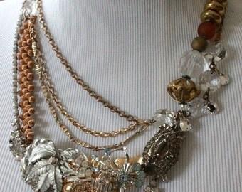Boho Bridal Necklace, Bib Necklace Bridal, Chunky Wedding Necklace, Boho Vintage Necklace, Vintage Rhinestone Statement Necklace