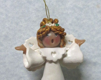 White SINGING ANGEL ORNAMENT Last Minute Gift Idea
