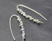 "READY TO SHIP unique sterling silver dangle earrings ""silver dew"" modern threaders -  handmade in seattle by lolide"