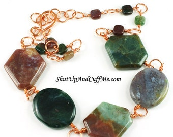 Fancy Jasper and Copper Necklace - CLEARANCE