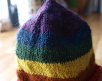 rainbow wool toddler hat