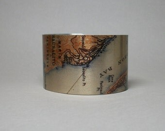 Sausalito California Golden Gate San Francisco Map Cuff Bracelet Unique Travel Hometown Gift for Women or Men