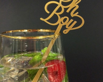 Acrylic Drink Stirrer - Laser Cut Oh Boy