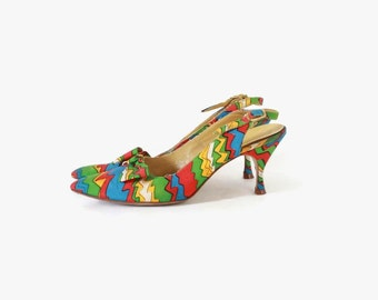 Vintage 60s Colorful HEELS / 1960s Bright Slingback Pumps with Bows 7
