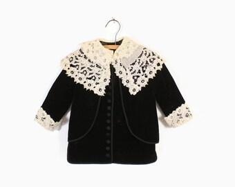 Vintage Edwardian Baby COAT / Antique Velvet & Lace Child's Jacket 3T