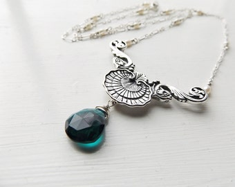 Teal Quartz  and Pearl - Silver Shell and Fish Mermaid Statement Necklace  by Quintessential Arts