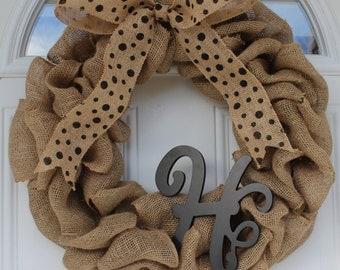 Monogram wreath, burlap wreath, initial wreath, door wreath, outdoor wreath, monogram door hanging, front door wreath, spring wreath