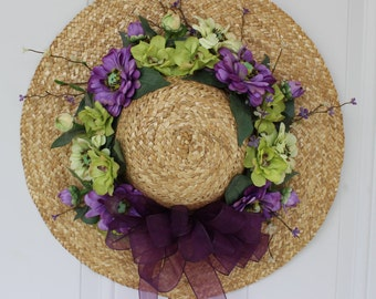 Spring wreath, hat door wreath, outdoor door wreath, spring hat wreath, Mother's Day gift, floral hat wreath, front door wreath