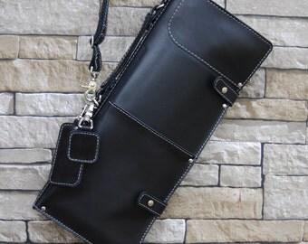 Black Leather Stick Bag, Drumstick Bag, Leather Gig Bags, Ready to ship, Leather Gig Bag, Leather Stick Bag, Drum Stick Bag, Black Stick Bag