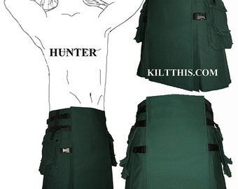Interchangeable Green 10oz Canvas Hiker Utility Kilt Handmade Adjustable Custom Fit with Large Expanding Cargo Pockets