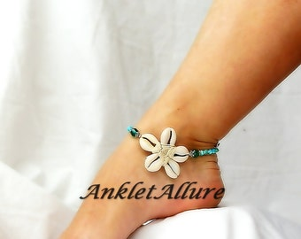 Cowrie Flower Anklet Aqua Crystal Beach Body Jewerly Beach Ankle Bracelet Flower Anklet Cruise Vacation Beach Resort