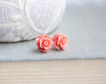 Coral Rose Stud Earrings Flower Earrings Tiny Rose Stud Earrings Surgical Steel Posts Nickel Free Gift for Girlfriend Stocking Stuffers