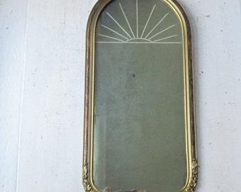"Antique Gold Framed Wall Mirror w Etched Sunburst Design 23"" x 11"""