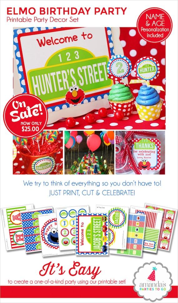 Elmo Birthday Decorations | Elmo Party Banner | Sesame Street Party | Elmo Centerpiece | Elmo Favors | 1st Birthday | Amanda's Parties