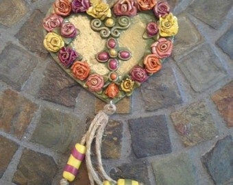 Heart with flowers. Polymer clay heart.hanger