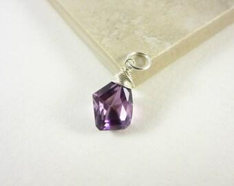 Genuine Amethyst Pendant - Sterling Silver Pendant - Natural Gemstone Pendant - Purple Stone Pendant - February Birthstone Pendant