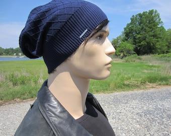 Men's Navy Blue Slouchy Beanie Hats Lightweight Summer Diamond Patterend Cotton Knit Slouch Tam A1699