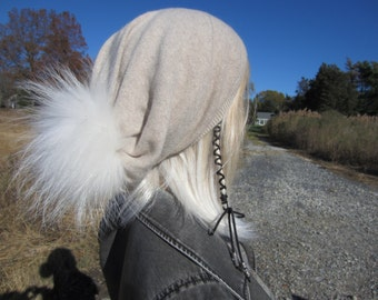 Fur Pom Pom Cashmere Slouchy Beanie Real Fur 100% Pure Cashmere Bobble Hat Oatmeal Tan Womens Beige Baggy Back Tam A49 C POM