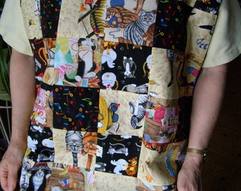 Adult Bib cats Patchwork design Special Needs Apron extra long reversible