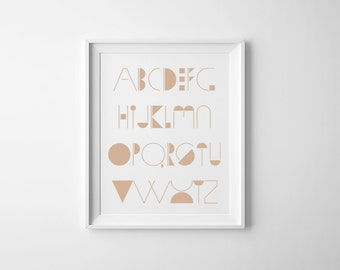 Neutral Alphabet Wall Art , Scandinavian Kids Room Art Print , Beige Nursery Art , Tan Wall Art Playroom large sizes more colors