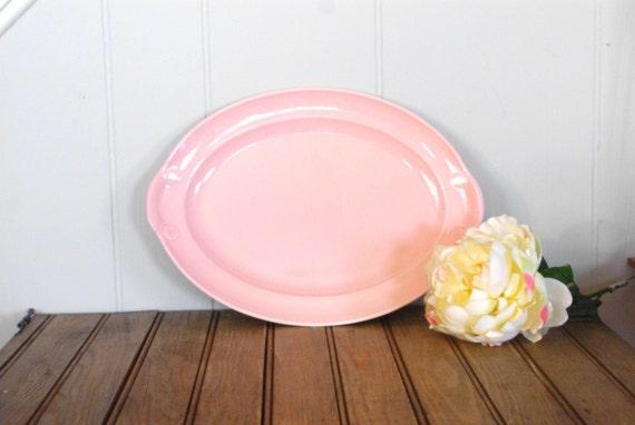 Vintage Platter- Retro Platter- Pink Platter- Lu-Ray Platter- Ceramic Platter- Vintage Tableware- Retro Serving Plate- Dinner Platter