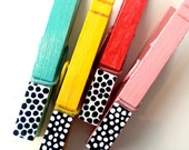 COLOR BLOCK CLOTHESPINS hand painted wooden magnetic pegs