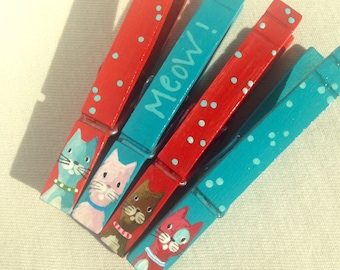 CAT CLOTHESPINS teal red polka dots hand painted magnets meow aqua cat pink cat