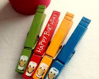 COFFEE CLOTHESPINS Happy Birthday hand painted magnetic pegs