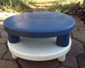 Wooden Plant Stand, Short Wood Plant Pot Riser, Painted Blue or White Stand, Primitive Handmade Round Legged Stool