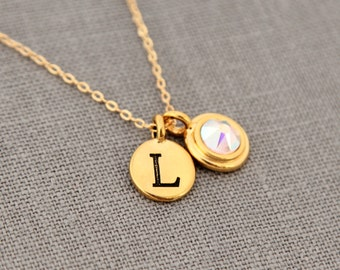 Gold Opal Necklace with Initial, Necklace Gold Birthstone Necklace, Gold Opal Jewelry, Custom Mothers Necklace