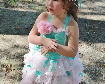 Baby Girl Couture Dress,Aqua and Light Pink Dress,Flower Girl Dress,Boho Wedding,Tea Party Dress, Birthday Dress,Photo Shoot Dress
