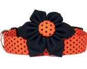 Orange Black Dog Collar with Flower, Halloween Dog Collar, Orange Polak Dot Dog Collar, Fall Dog Collar, Dog Collar Flower, Girl Dog Collar