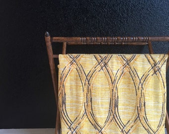 vintage retro yellow folding fabric sewing basket / collapsible tote / wood handle