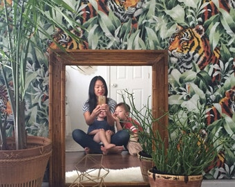 large vintage faux bamboo mirror // wall hanging