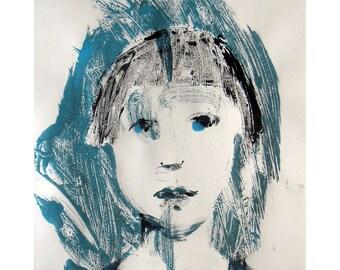 Girl portrait art original monotype face figurative people child illustration