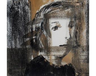 art Woman portrait original illustration monotype people face